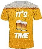 EUDOLAH Herren Bunt Galaxy T-Shirt Sport Rundhals Spaß Motiv Tops (Größe XL (Tag 2XL), A-Bier)