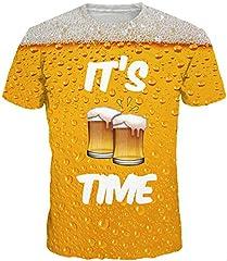 Idea Regalo - EmilyLe Cool Design T-Shirts Magliette a Maniche Corte con Stampa 3D Colorate per Ragazzi e Uomini EU M(Etichetta L),Birra