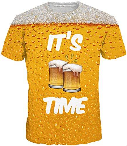 Kaltes Bier T-shirt (EUDOLAH Herren Bunt Galaxy T-Shirt Sport Rundhals Spaß Motiv Tops (Größe 2XL (Tag 3XL), A-Bier))