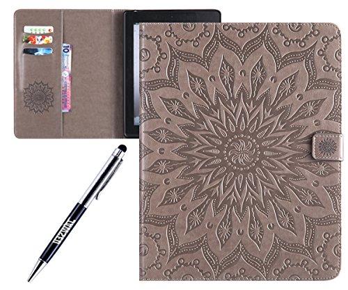Kompatibel mit iPad 2 Hülle Case Hülle Case Flip Folio Smart Book Cover Schutzhülle Ultra Slim Leder Tasche Hülle Etui Schutzhülle,Grau Ipad Flip Case