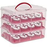 Amzdeal Kuchenbehälter 3 Etagen Kuchentransportbehälter 36 Cupcakes Behälter Tragbarer Kuchenbox für Kuchen, Cookies, Torten, Muffines Usw. Ideale Weihnachtsgeschenke für Freunde Familie oder Selbst ( Rot )