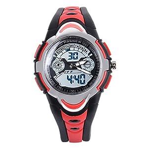 FORESEEX Kinder Uhr Analog-Digital Quarz mit Polyurethan Armband Rot FSX-212G3