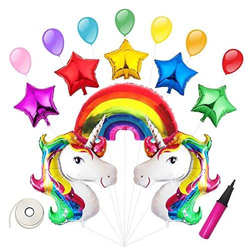 StageOnline Globos para Fiestas, 2Pcs Globos Unicornios, 5Pcs Globos pentagramas, 7Pcs Globos de látex,Globo del Arco Iris Decoración de Fiesta Regalo de Cumpleaños de Niños de Ducha de Bebé Colorido