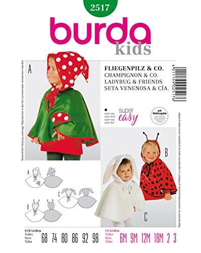 Burda 2517 Schnittmuster Kostüm Fasching Karneval Fliegenpilz & Co (Baby, Gr. 68-98) - Level 1 super Easy