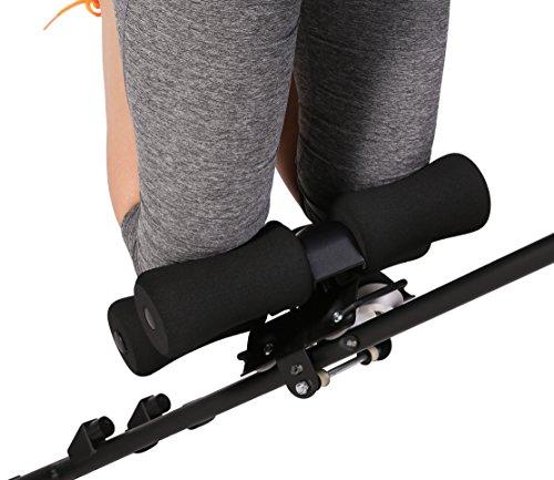 SportPlus Bauchtrainer mit flexibler Knieauflage für schräges Bauchmuskeltraining - 4 Schwierigkeitsstufen, Trainingscomputer, klappbar, Sicherheit geprüft, SP-ALB-011-X