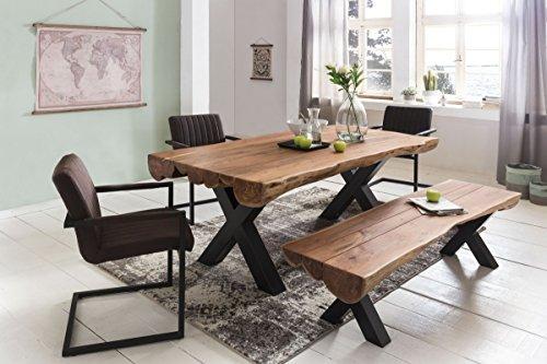 Esszimmertisch 180 x 90 x 77 cm Akazie Landhaus-Stil Voll-Holz - Design Esstisch rechteckig - Tisch für Esszimmer Baumstamm - Küchentisch 6 - 8 Personen
