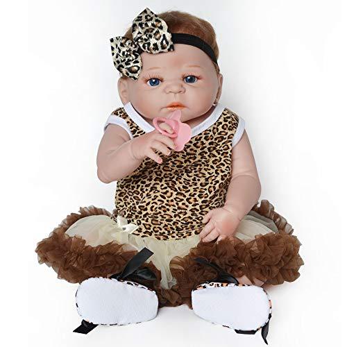 dergeborene Babypuppen Vinyl 22 Zoll weiches Silikon Ganzkörper-Babypuppen mit Kleidung und magnetischem Schnuller für Kinder ab 3 Jahren ()