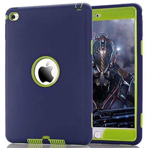 ZERMU 3-in-1 Schutzhülle für iPad Mini 4, strapazierfähig, stoßfest, robust, aus Silikon und hartem Polycarbonat, stoßfest, stoßdämpfend, für iPad Mini 4, Modell 2015, Marineblau/Grün (Survivor Case 4 Ipad Griffin)