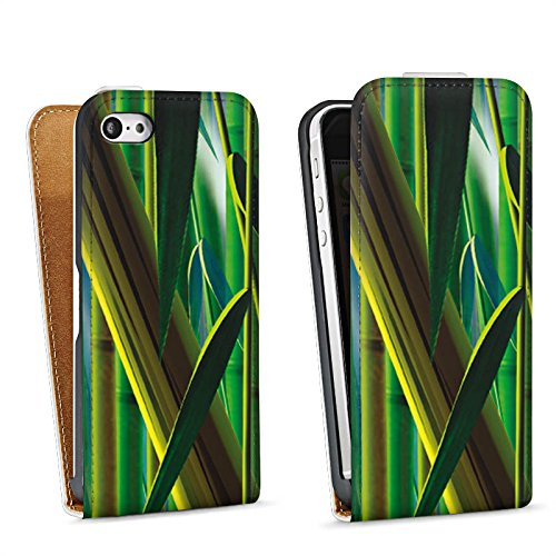 Apple iPhone 4 Housse Étui Silicone Coque Protection Bambou Papillons Nature Sac Downflip blanc