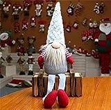 EKKONG Gnomo di Peluche per Decorazioni Natalizie, Babbo Natale Nano Scandinavo, Santa Doll Regali di Capodanno per Bambini Amici Famiglia, Grigio