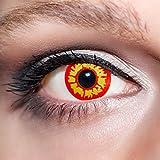 KwikSibs farbige rote Kontaktlinsen Werwolfsaugen 1 Paar (= 2 Linsen) weiche Funlinsen inklusive Behälter und 50ml Pflegelösung (Stärke / Dioptrie: 0 (ohne))