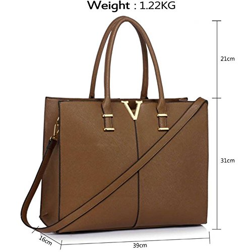 LeahWard Patent Large Size Women's Tote Bags College A4 Folder Handbag Nice Great Shoulder Handbags 319 (TAUPE V)