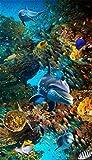Türaufkleber Unterwasserwelt Tapete Fototapete Delphin Meeresschildkröte Fisch Türtapete Selbstklebend Türposter 77X200CM