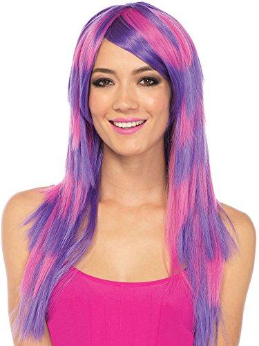 eschichteten zwei Ton Perücke, Damen Karneval Kostüm Fasching, Einheitsgröße, rosa/lila (Cheshire Cat Fancy Dress Kostüm)