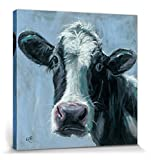 1art1 98718 Kühe - Mabel, Louise Brown Leinwandbild Auf Keilrahmen 40 x 40 cm