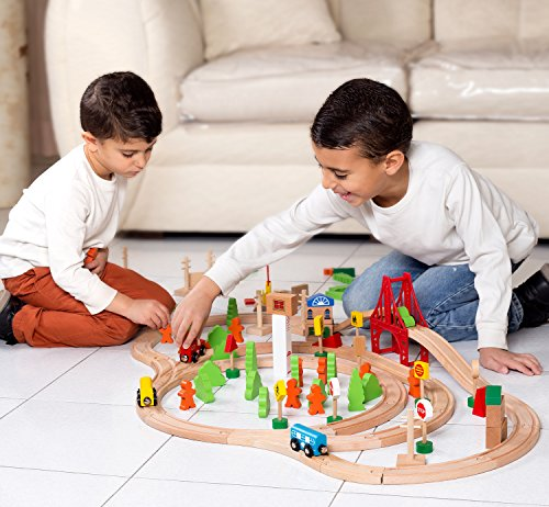 Image of 100 Piece Wooden Train Set - From Toy Practitioner