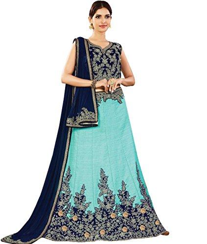 Indian Ethnicwear Bollywood Pakistani Wedding Dark Blue Flare Lehenga Semi-stitched