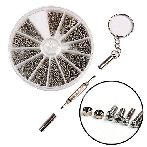 REFURBISHHOUSE 600 Stueck/Set Kleine Edelstahlschrauben 12 Arten von Elektronik Muttern Sortiment + 1pc Schraubendreher fuer Brillen Reparatur Werkzeug