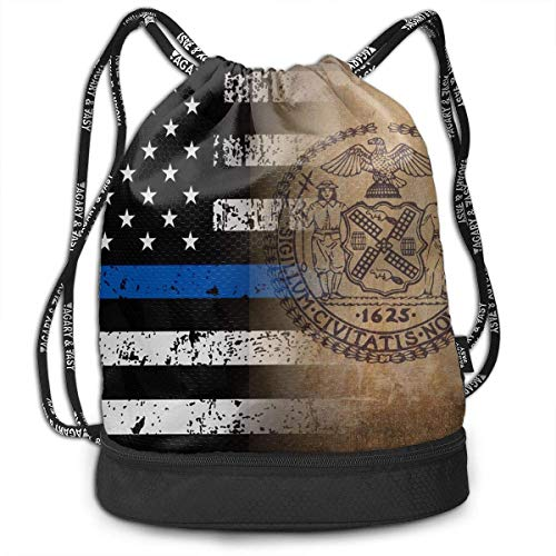 NasNew Thin Blue Line New York City Flag Art Multipurpose Drawstring Backpack Bag Bundle Pocket Daypack Gym Bag for Gym Travel