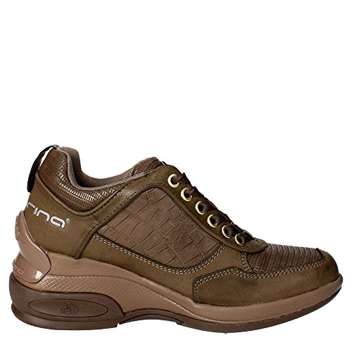Fornarina Sneaker élevé femmes Augmenter Cm 7 Leather printed calf suedeWoman Chalk Marron Taupe