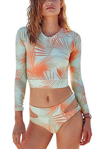 Perfashion Damen Badeanzug Langarm Mode Schwimmanzug Tankini Set Bandage Badeanzug Test