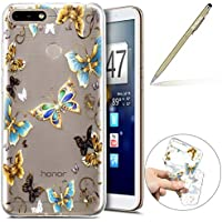 Handy Tasche für Huawei Y6 2018 Silikon Hülle Durchsichtige Schutzhülle Crystal Clear Transparent Ultra Dünn Handyhülle Silikonhülle Kristall Klar TPU Bumper,Blau Schmetterling