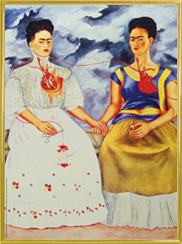 1art1 Frida Kahlo Poster Kunstdruck und Kunststoff-Rahmen - Die Zwei Fridas (80 x 60cm)