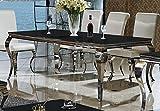 Eßtisch 140, 160, 180 o. 200 x 90 x 76 cm Lara schwarz Esszimmer designer luxus Tisch Büro Edelstahl Glas Barock Chrom schwarzglas Schreibtisch (220 x 100 x 76, Schwarz)