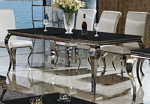 wohnenluxus Esstisch Lara schwarz 140 x 90 cm Esszimmertisch Edelstahl Glas Barock Schreibtisch