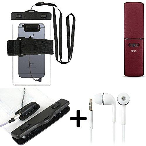 K-S-Trade Für LG Electronics WineSmart Wasserdichte Hülle mit Kopfhörereinlass + Headset, transparent Jogging Armband Wasserfeste Handyhülle Beach Bag Outdoor Beutel Schutzhülle Unterwasser case für