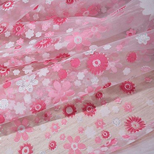 Sharplace 2pcs Landhaus Stil, Floral Tüll Voile Gardine, Transparent Vorhang, für Sommer Wohnzimmer Kinderzimmer Deko, 200 x 100cm - Rosa, 200 x 100cm