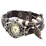 ojofischer Frauen-Uhr-Retro-Leder-Armband-Uhr-Baum-Blatt-Geflochtene-Uhr-Dekoration-Quarz-Armbanduhr (Kaffee) 100% nagelneu und Prämie