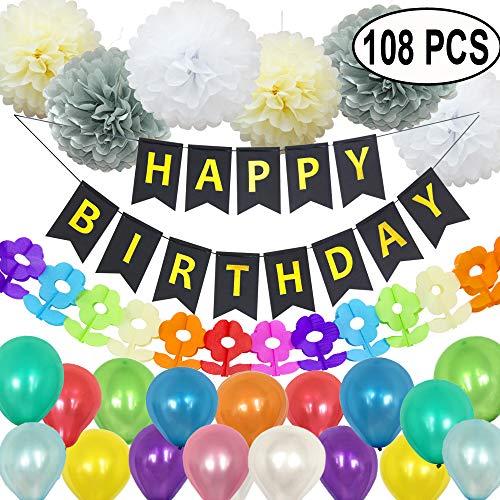 Happy Birthday Partydekorationen begünstigt Mädchen Jungen, Happy Birthday Banner Bunting + 6pcs Papier Pompons + 1 Bunte Papiergirlande + 100 Ballons, Birthday Mix-Black
