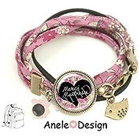 Bracelet Cadeau pour la maîtresse - Merci Maîtresse! - fleurs liberty oiseau École idée cadeau fin d'année