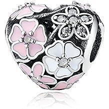 Poetic Blooms Heart Charm de plata de ley 925 colgantes Pandora, pulseras europeos compatible