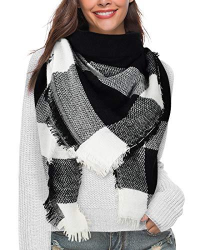 Heekpek Bufandas Mujer Invierno Grib Grande Chal Cálido Moda Bufandas Largas de Invierno Negro