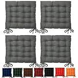 Beautissu® Lot de 4 galettes de chaise Lea - Confortable et coloré - Idéal pour intérieur et extérieur - 40x40x5 cm - Anthracite