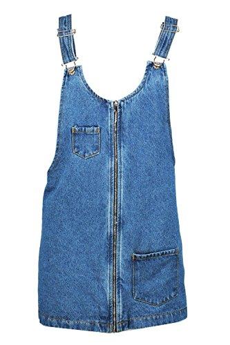 Bleu Femmes Petite Kitty Robe Chasuble En Denim Zippée Devant Bleu