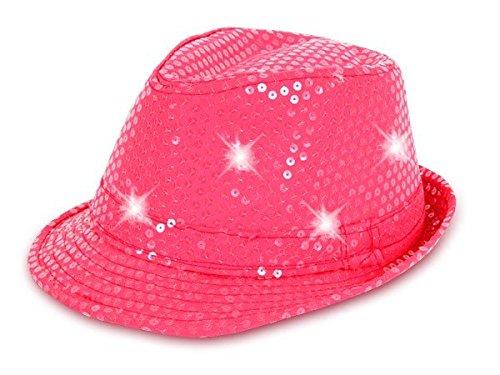 Cappello fedora borsalino di molti colori diversi con luci LED e paillette clubstyle discoteca popstar jazz blues lifestyle accessorio molto moderno hip hop spiaggia tempo libero, LED Trilby TH-40-54:TH-53 rosa fluo