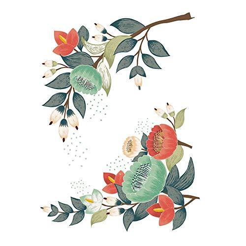AUNMAS Blumenwandaufkleber Abnehmbare Blumenmuster Wand Fenster Kühlschrank Kabinett Kunst Aufkleber für Heimtextilien (3#) - Kunst-kabinett