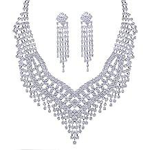 a2251c6925ca Santfe Novias Estilo Cristal Rhinestone set Pendientes Collar Conjunto  mujer collar colgantecolor de plata