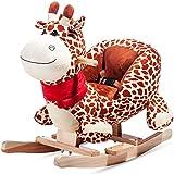 Holzspielzeug Neu Schaukelpferd Kinder Holz Schaukeltier Pluesch Schaukel Pferd Schaukelspiel