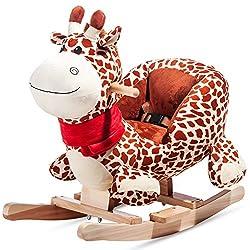 Merax Schaukeltier Schaukelpferd Schaukelstuhl Schaukelspielzeug Plüschschaukel für Kinder und Baby (Giraffe)