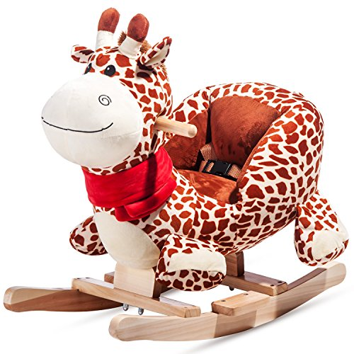 Schaukeltier Schaukelpferd Schaukelstuhl Schaukelspielzeug Plüschschaukel für Kinder und Baby (Giraffe) Merax®
