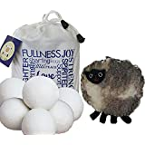 Wool Dryer Balls 6-pack XL Handmade with Premium 100% Organic New Zealand Wool with Inspirational Carrying Bag and Free Sheep Coin Purse - #1 Best All-Natural Fabric Softener