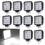 10X 48W LED Arbeitsscheinwerfer 12V 24V Flutlicht Offroad Scheinwerfer Rückfahrscheinwerfer IP67 6500K 4320 Lumen