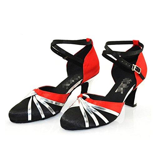 scarpe da ballo da donna in chiusura con tacco alto pu glitter cuoio salsa tango ballroom latin cross strap sandali rosso nero A