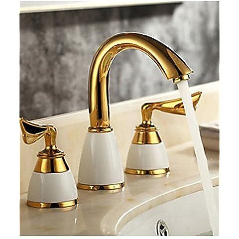 Luxury Classic 3 pz colore dorato tocca 2 Maniglia cascata tocca un bagno caldo e freddo i rubinetti del lavandino rubinetto lavabo vasca calda e fredda rubinetto rubinetti , titanio CSÁSZÁR - Ottone 3 Pollici Casa Numero