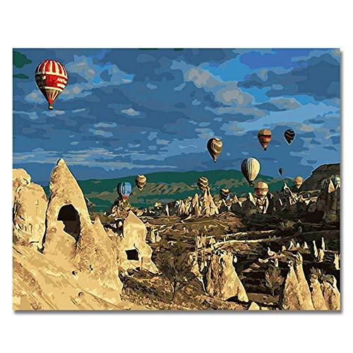 WLKJ Boutique Tot Luftballon Bilder Malen nach Zahlen DIY Digital Türkei Stil Wand Öl Leinwand Kunst Färbung nach Zahlen Kunstwerk Geschenk, 40X50cm -