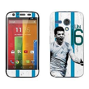 Bluegape Motorola Moto G Sergio Aguero 'KUN' Football Player Mobile Skin Cover, Multicolor